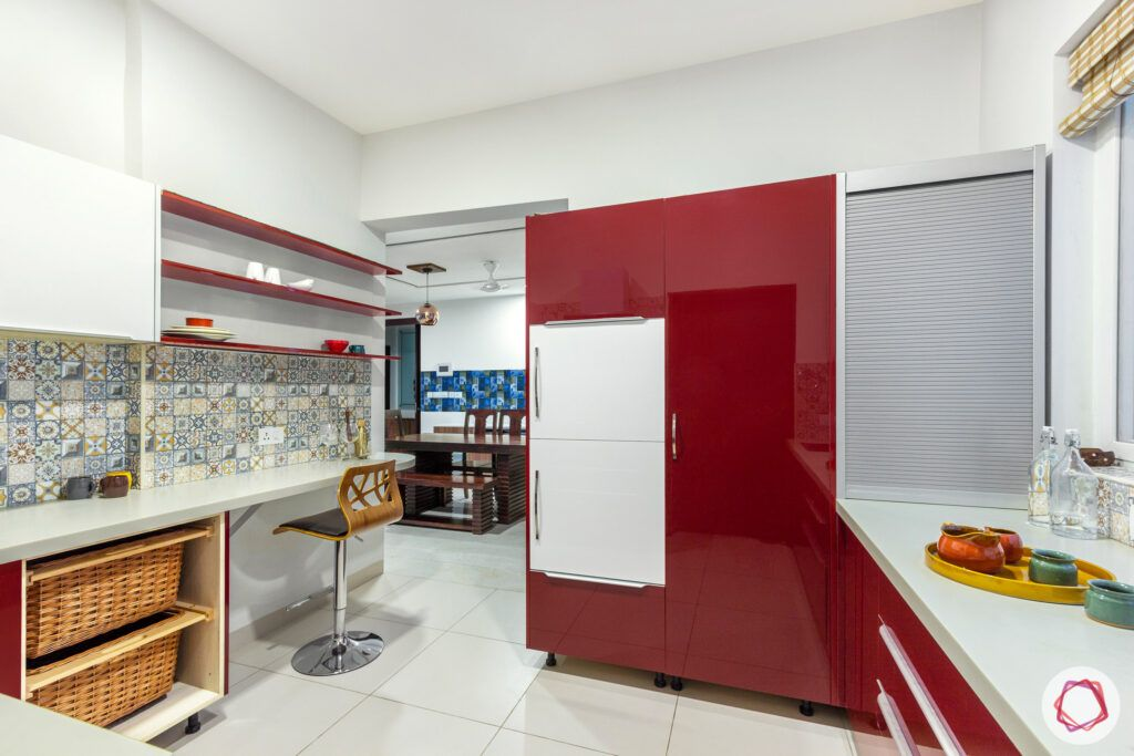 red kitchen designs-tall unit designs