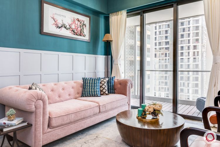 POP-designs-for-living-room-green-walls-pink-sofa-coffee-table