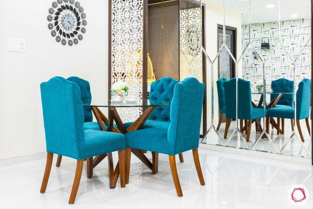 livspace mumbai-3-bhk-in-mumbai-dining room-blue chairs