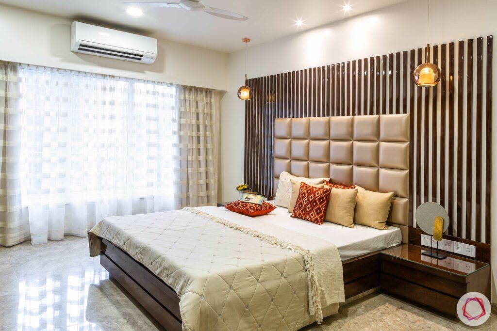 modern bedroom designs-vertical panelling-wooden panelling-quilted headboard