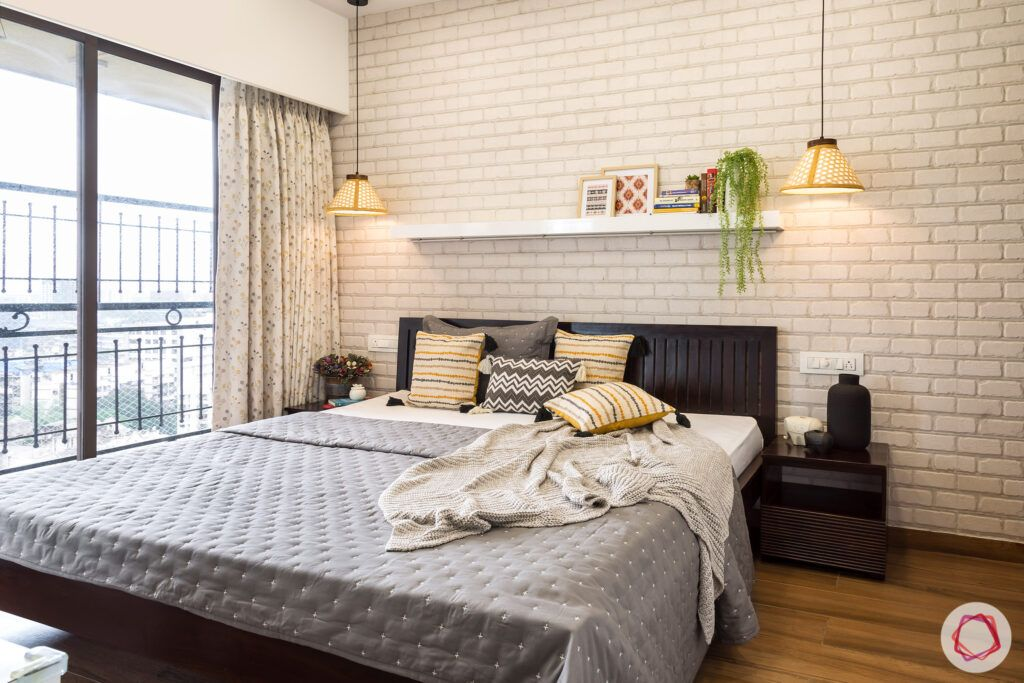 modern bedroom designs-white brick wall-dark wood cot-wall mounted shelf-pendant lights