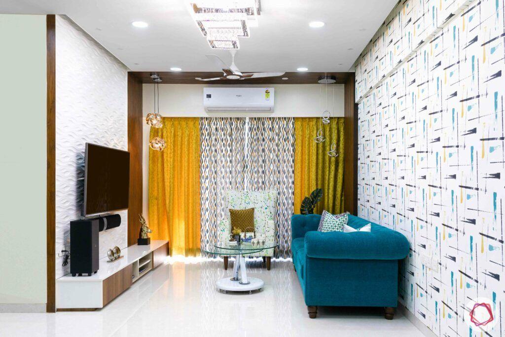 livspace mumbai-3-bhk-in-mumbai-living room-colourful curtains