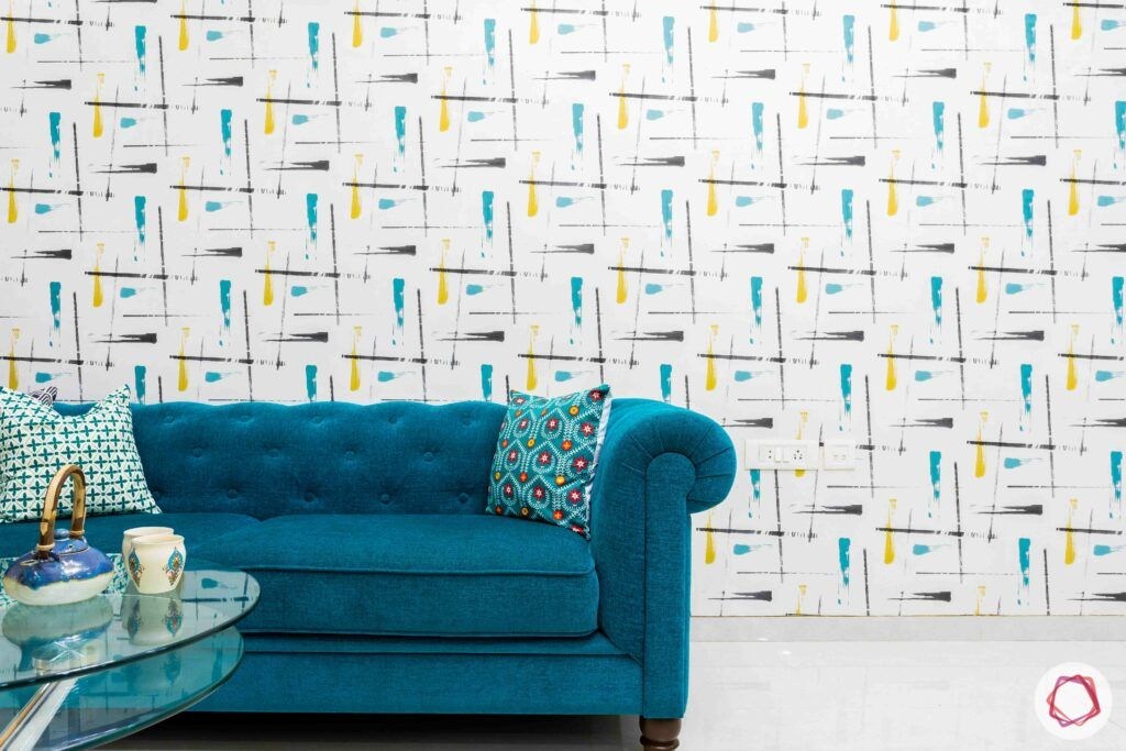 livspace mumbai-3-bhk-in-mumbai-living room-printed wallpaper