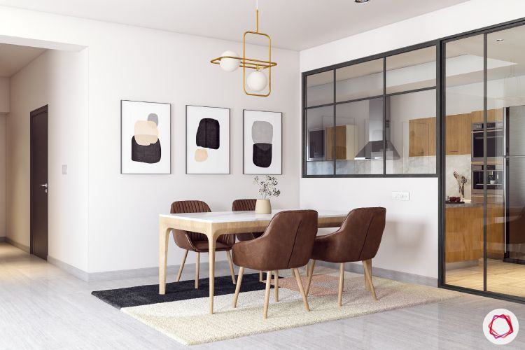 dining-room-wall-art-chairs-flower-vase-rug-lighting-accent