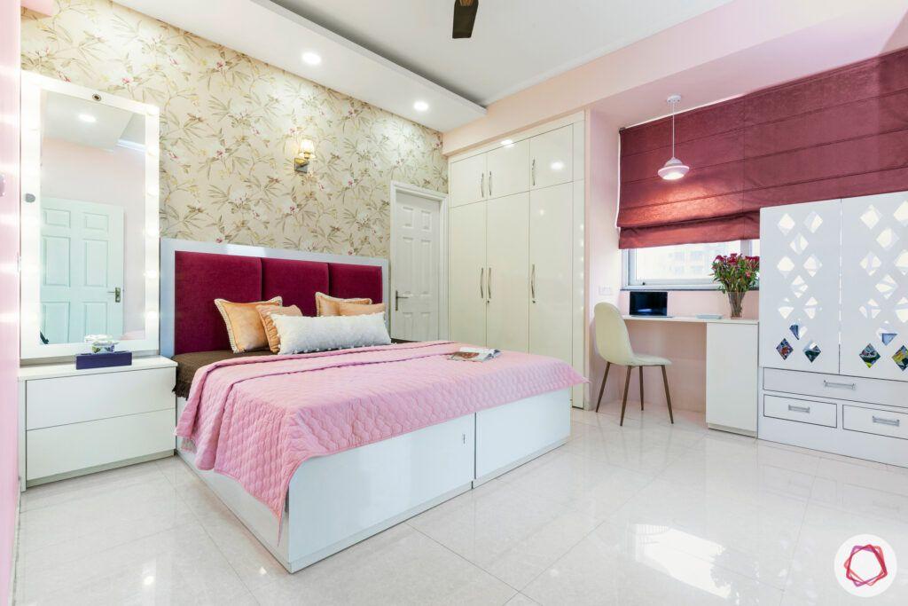 dasnac-pink bedroom-white-wardrobe-pooja-unit