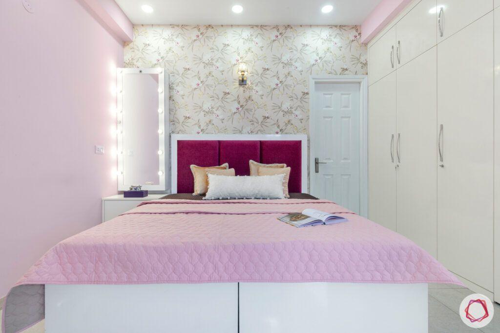 dasnac-pink bedroom-pink-headboard-vanity-mirror