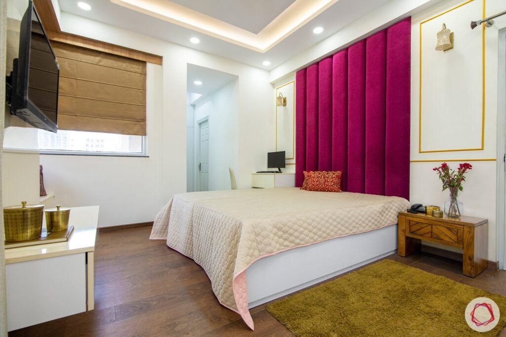 master bedroom-pink headboard-wall-trims