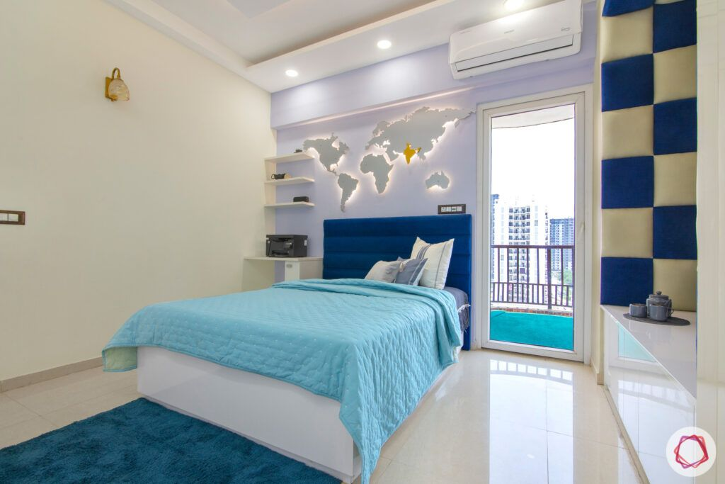 dasnac-blue bedroom-blue headboard-world-map