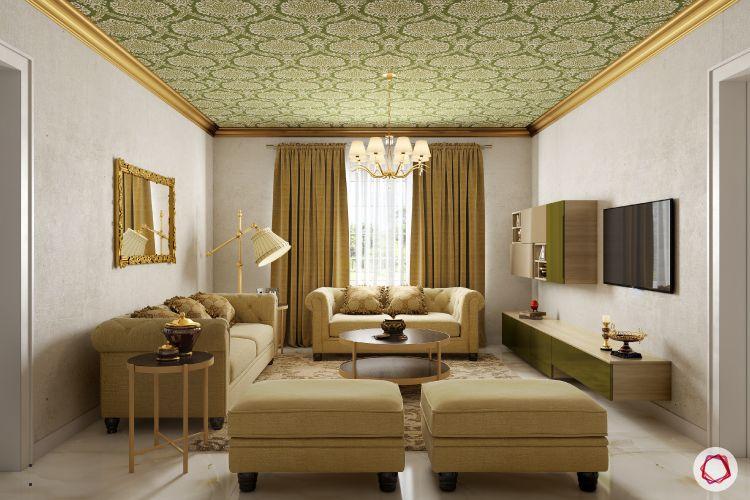 wallpaper for ceiling designs-brown sofa designs
