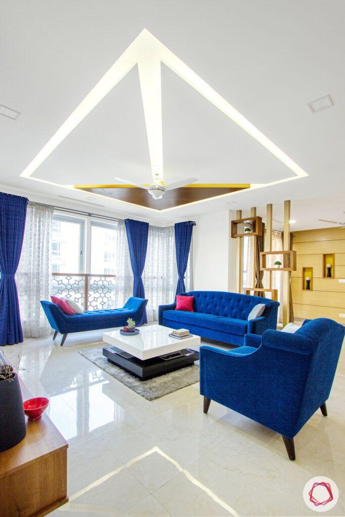 blue sofa designs-lit false ceiling designs