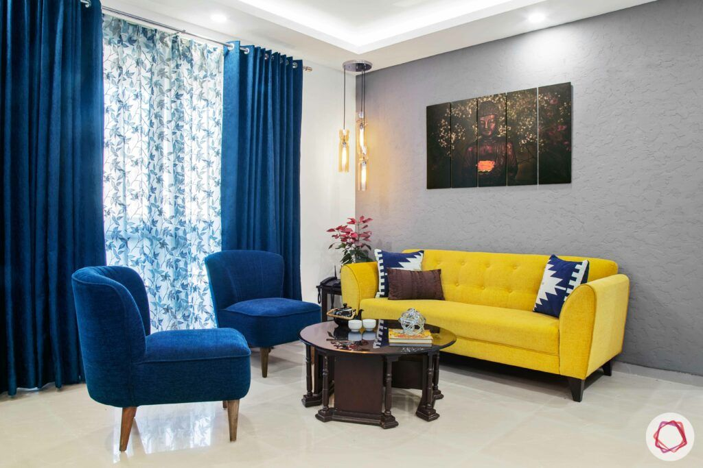yellow sofa-popular sofa colors-bright yellow-contrast chairs