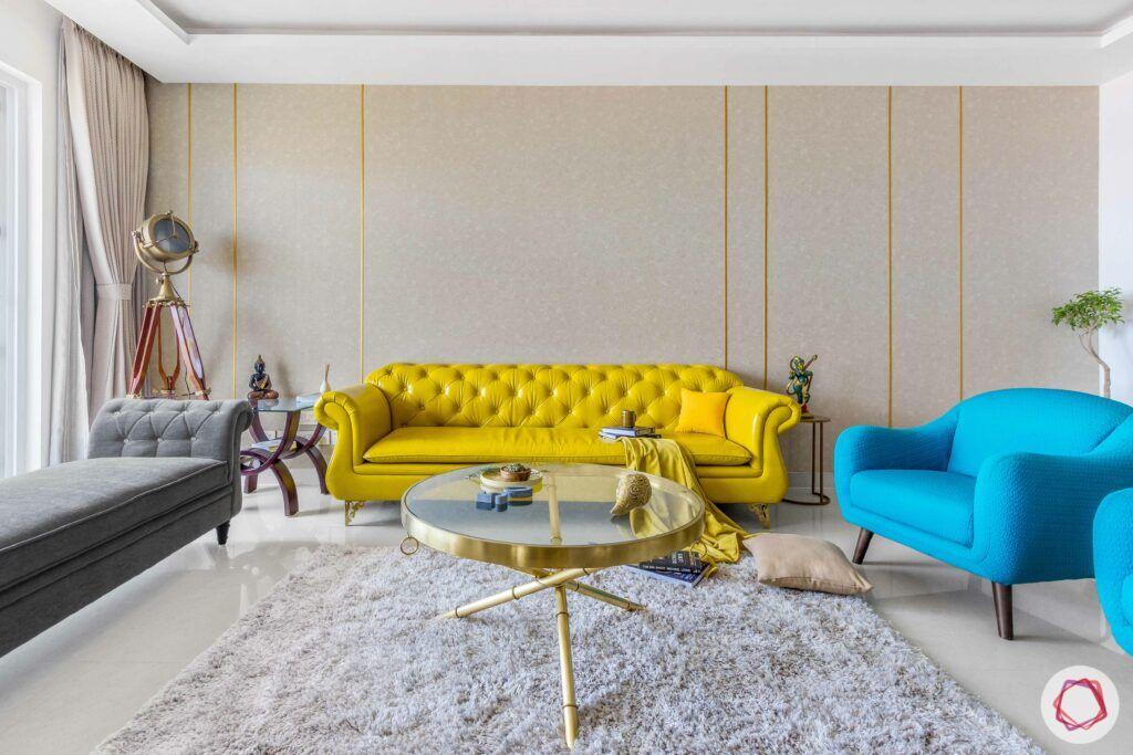 yellow sofa-popular sofa colors-leatherette sofa-button tufted sofa