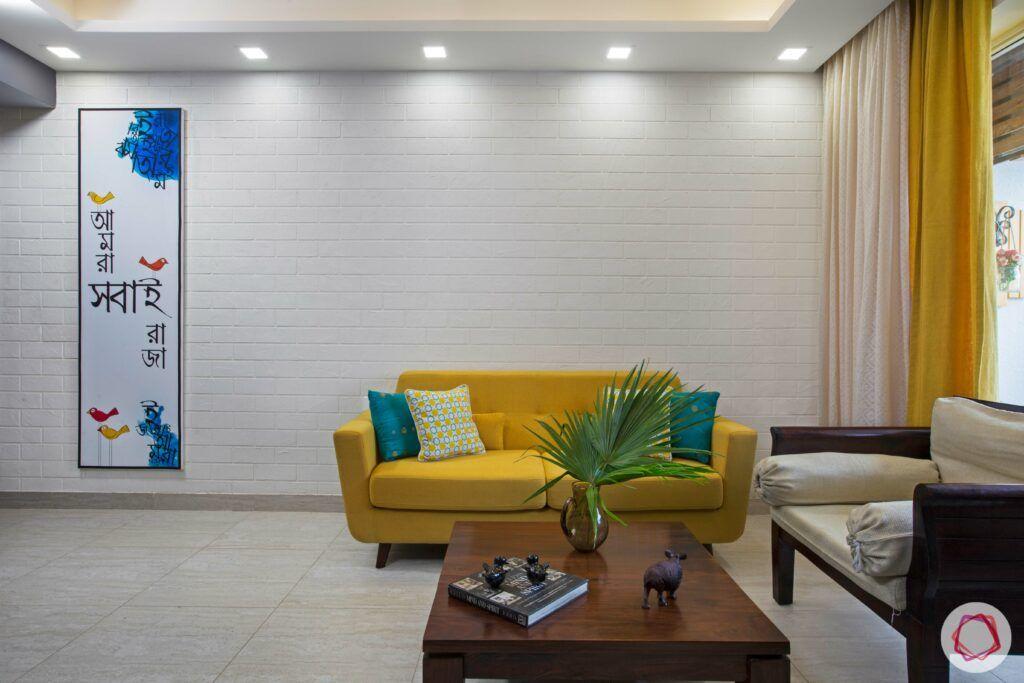 yellow sofa-popular sofa colors-minimal look-yellow loveseat
