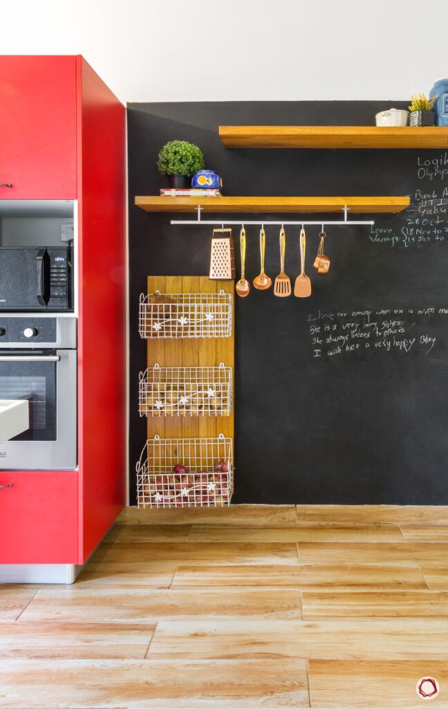 how to design your kitchen on a budget-wire racks-shelves-tall unit-blackboard