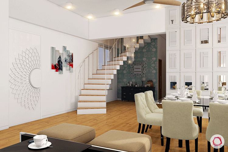 white staircase-neutral dining table-wallpaper designs