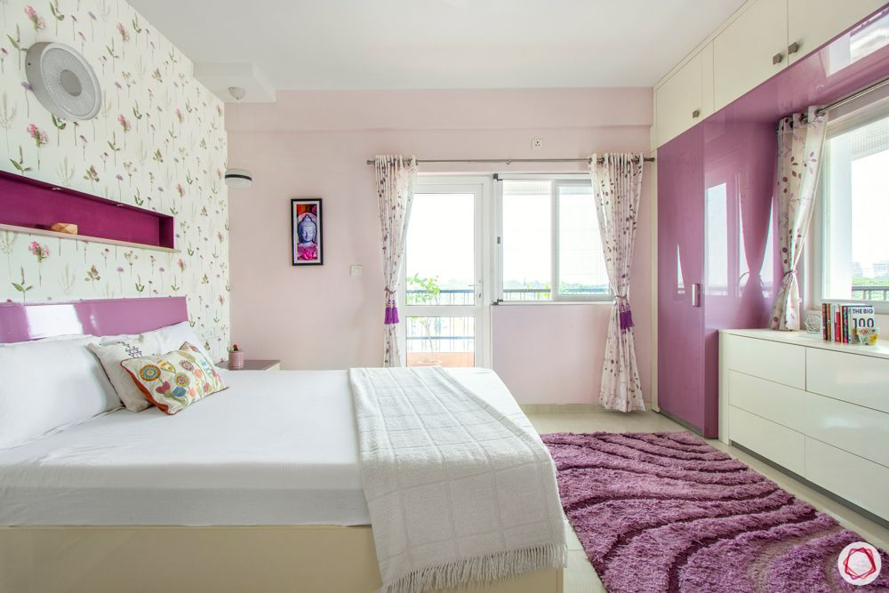bangalore home-pink bedroom designs