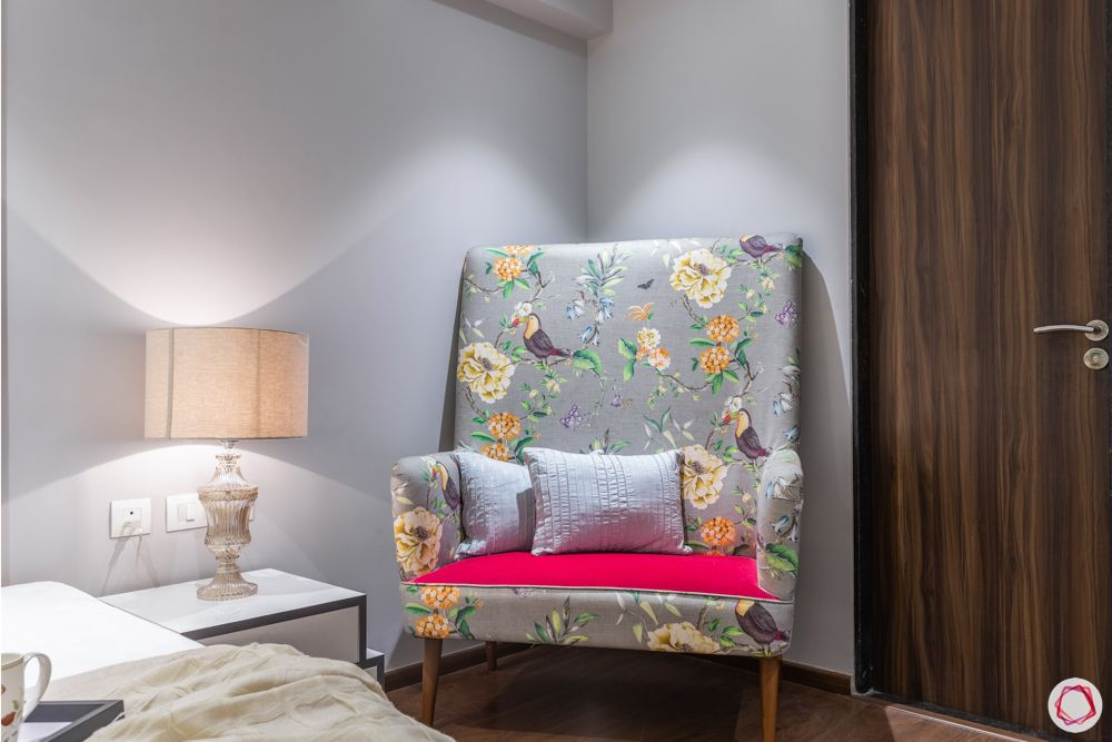 bedroom sofa-printed upholstery-table lamp-reading nook