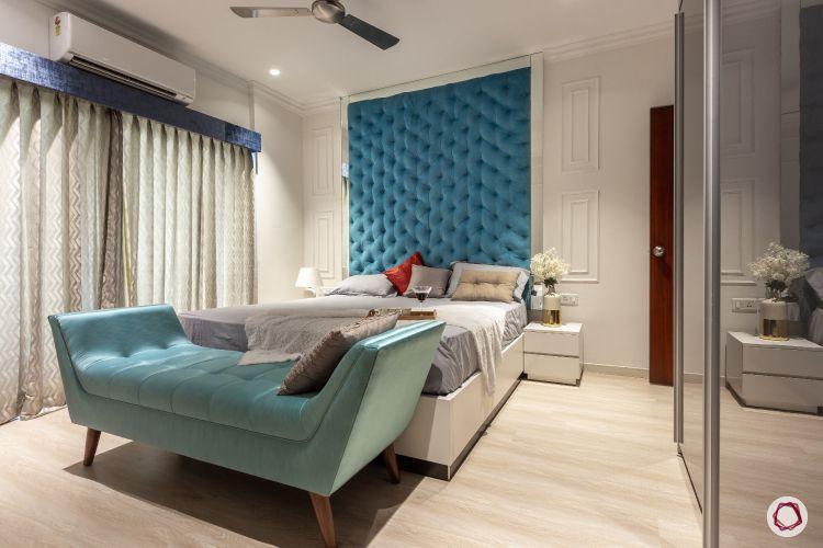 bedroom sofa-blue settee-blue headboard