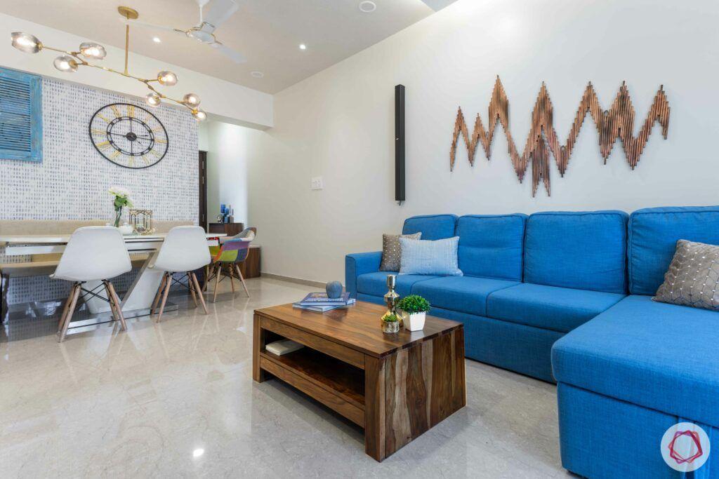 jp decks-wall mount-wood coffee table-blue sofa