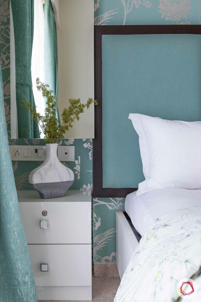 green headboard-mirror-white vanity unit