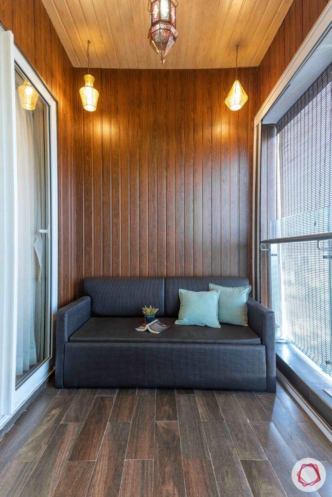 grey sofa-waterproof sofa-pendant lights-wooden ceiling-wooden wall