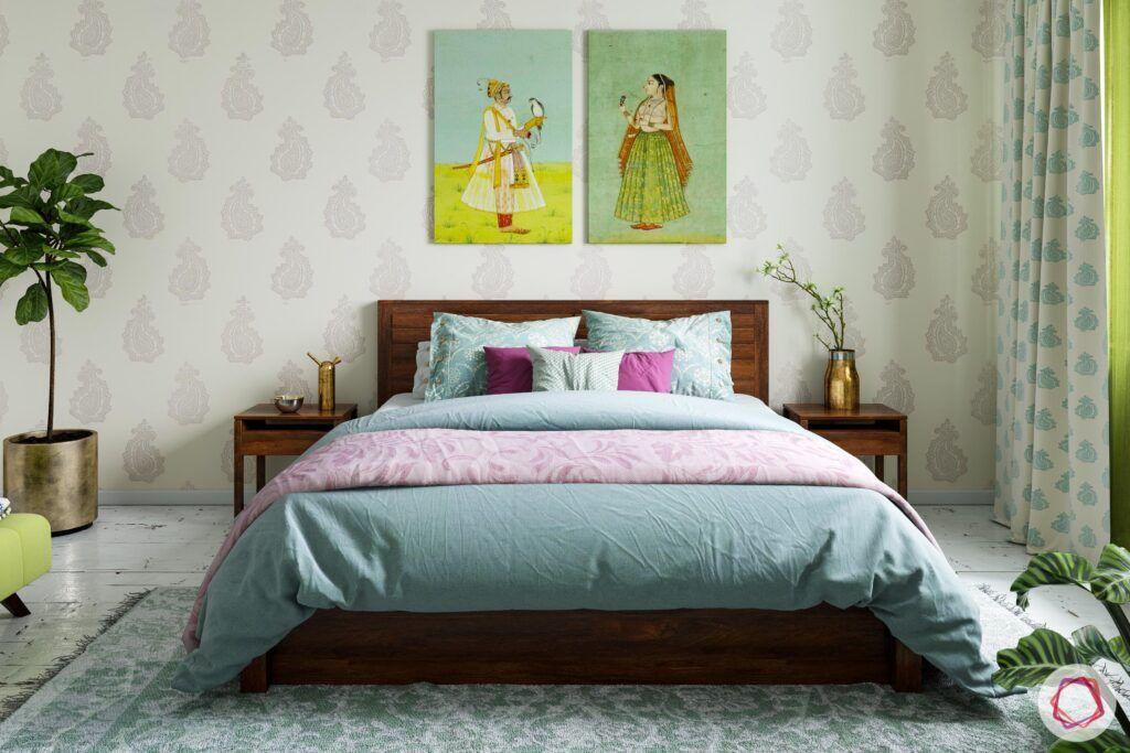 home furnishing fabric-green bedroom designs-wall art-motif wallpaper