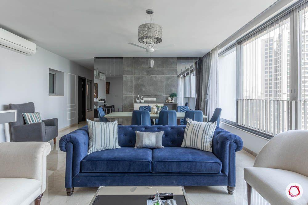 home furnishing fabric-blue sofa-blue dining table designs-grey wall