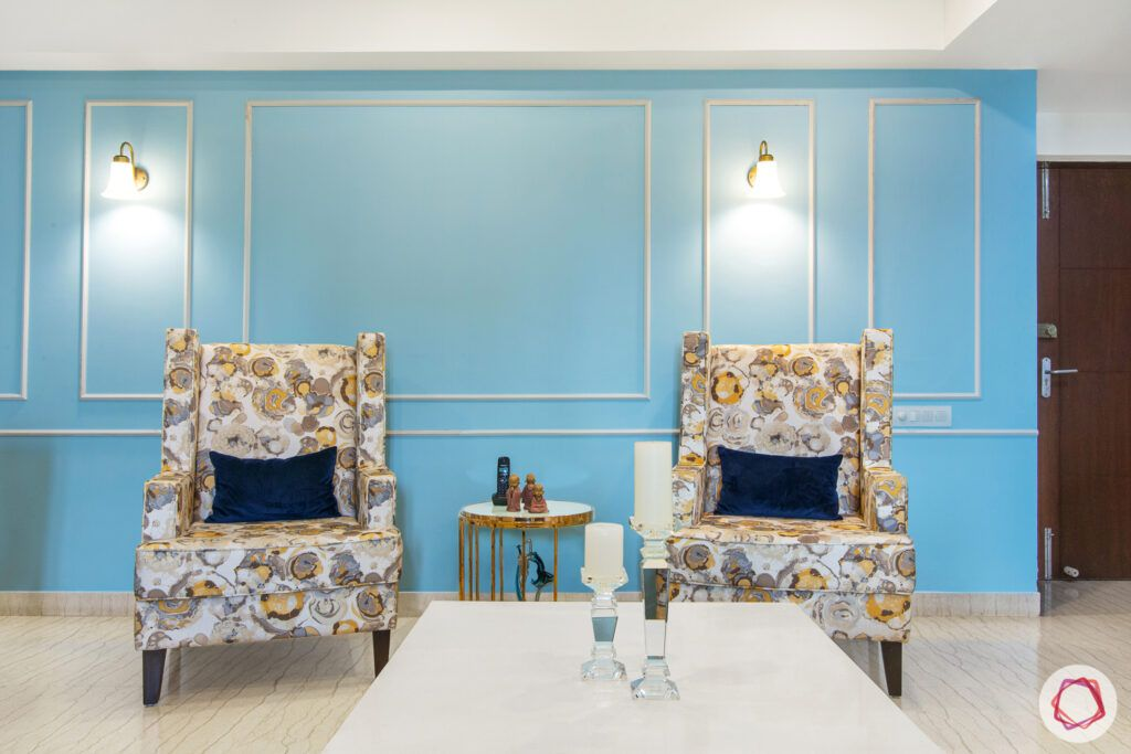 blue wall ideas-armchair designs