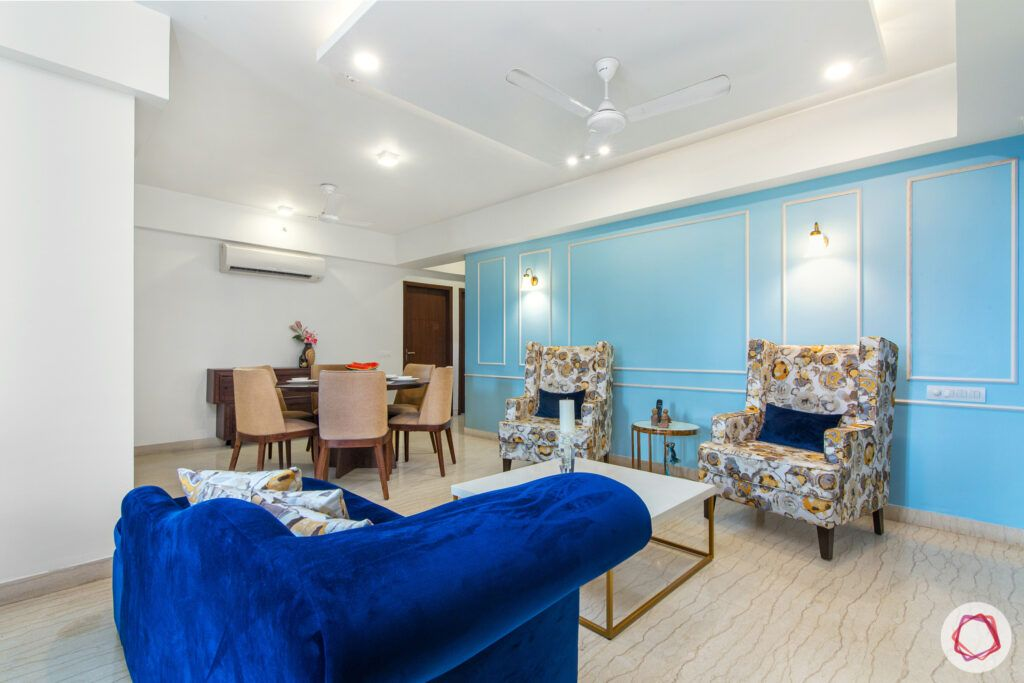 house in gurgaon-blue wall ideas-white centre table designs