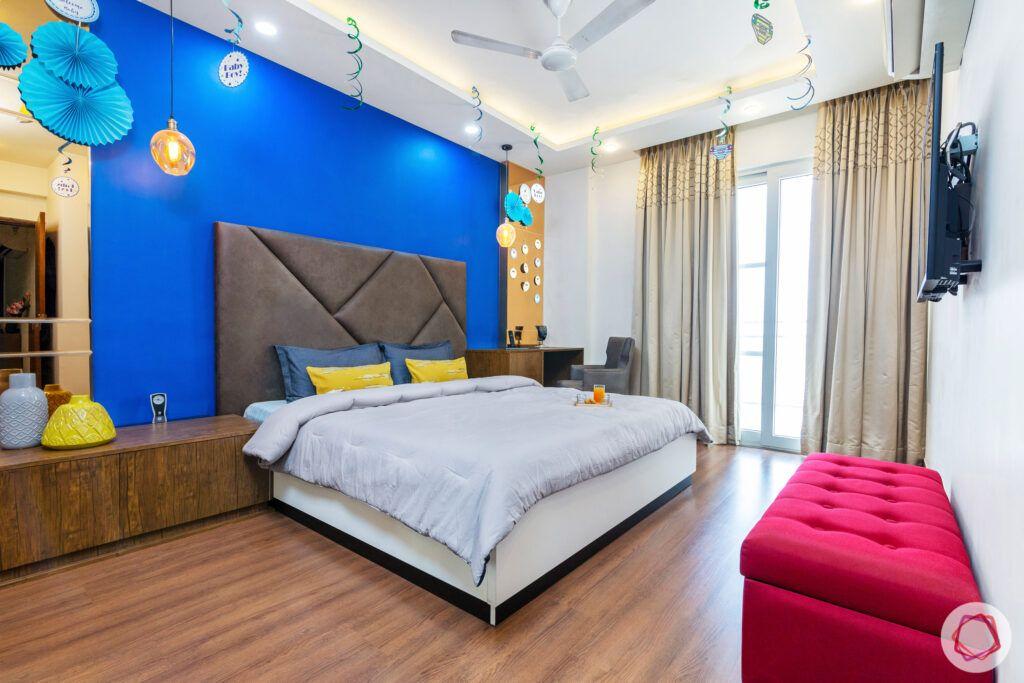 house in gurgaon-blue wall ideas-grey headboard designs