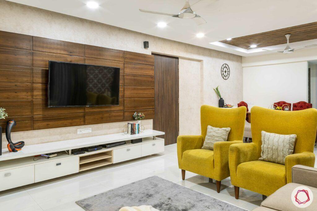 apartment interior design-living room-laminate tv unit