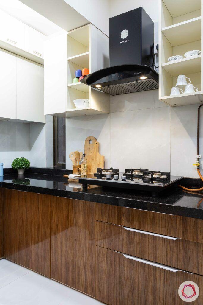 apartment interior design-kitchen-laminate cabinets-open shelves