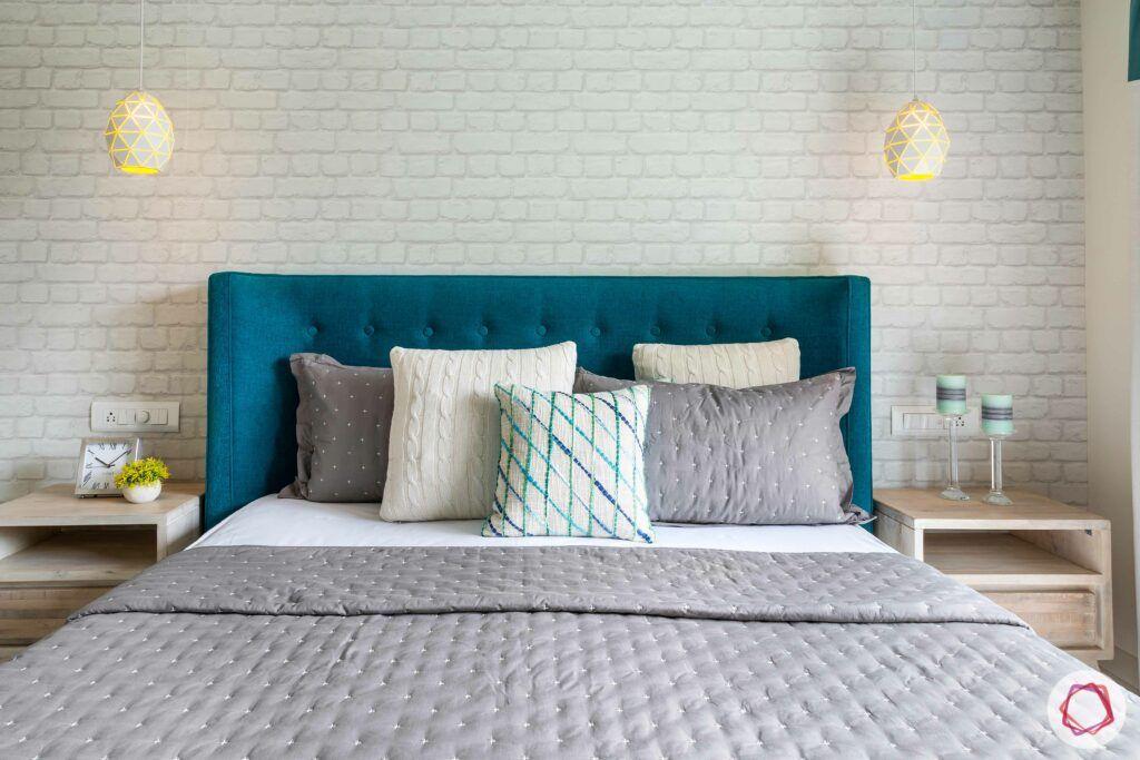 apartment interior design-master bedroom-blue headboard-bed