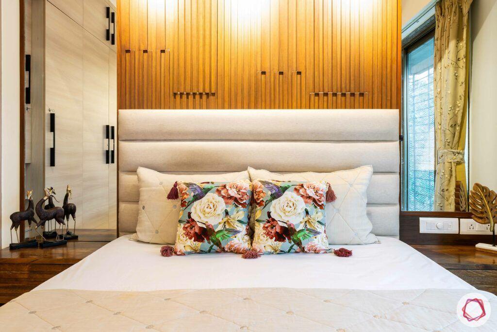 apartment interior design-parents bedroom-bed-wooden panels