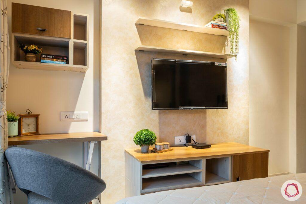 apartment interior design-parents bedroom-laminate tv unit