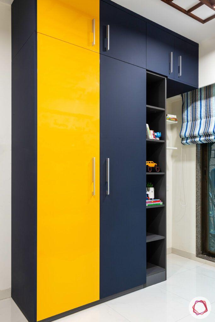 apartment interior design-kids room-wardrobe-laminate wardrobe-yellow shutters-blue shutters