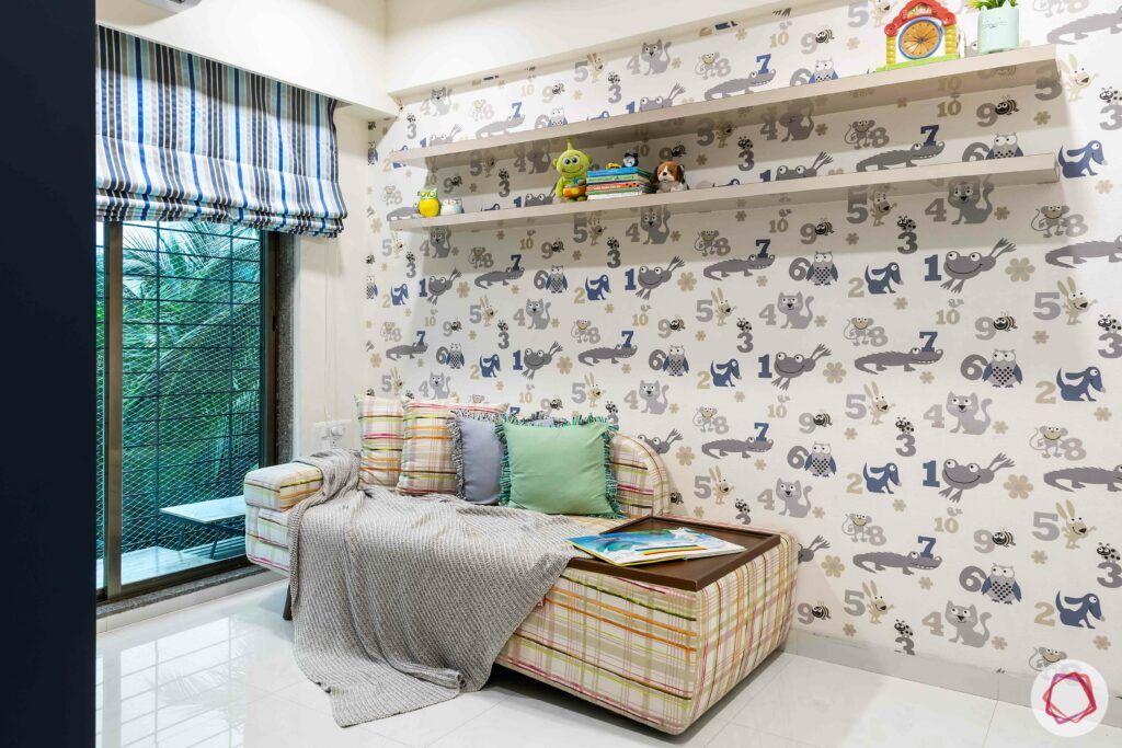apartment interior design-kids room-wallpaper-display ledges