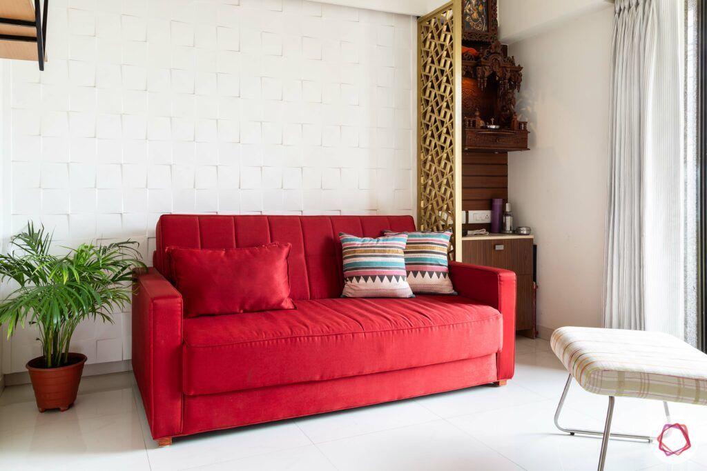 apartment interior design-entertainment room-red couch-pooja unit