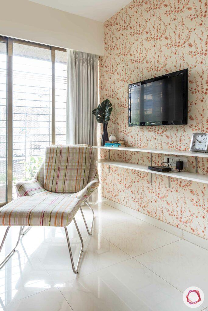 apartment interior design-entertainment room-floral wallpaper-tv unit