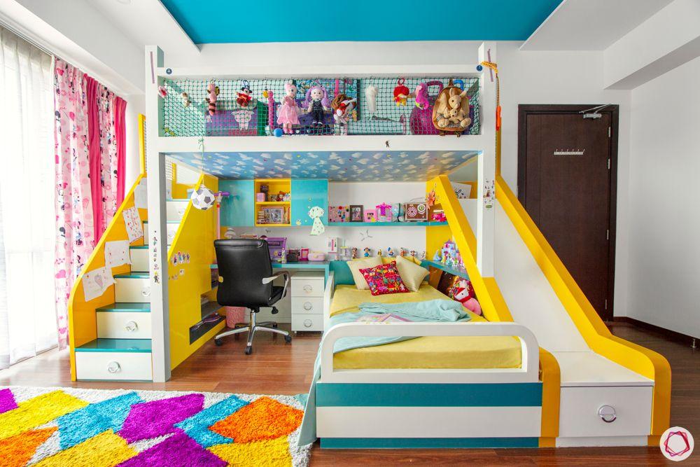 kids-bedroom-bunk-bed-stairs-slide-storage-study