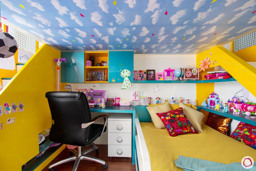 kids-bedroom-study-bed-wallpaper-drawers-leather-seat