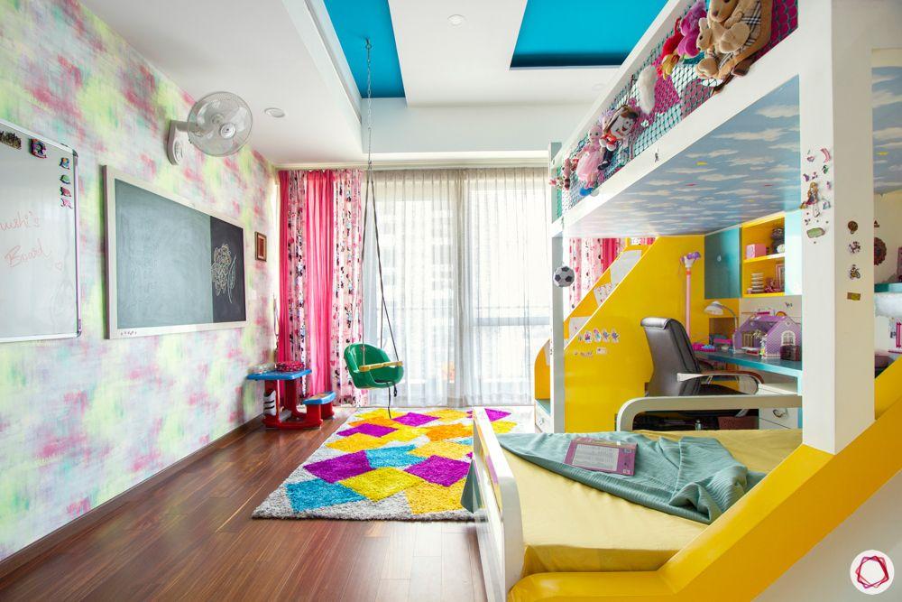kids-bedroom-swing-blackboard-rug-bed