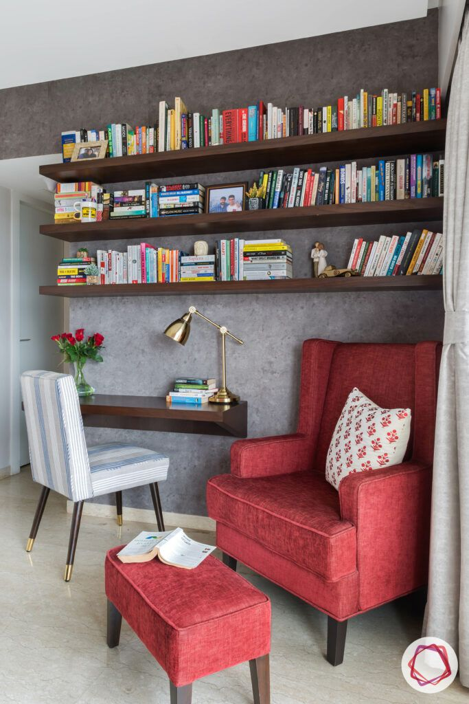 Mahogany-shelves-study-room-table-red-armchair