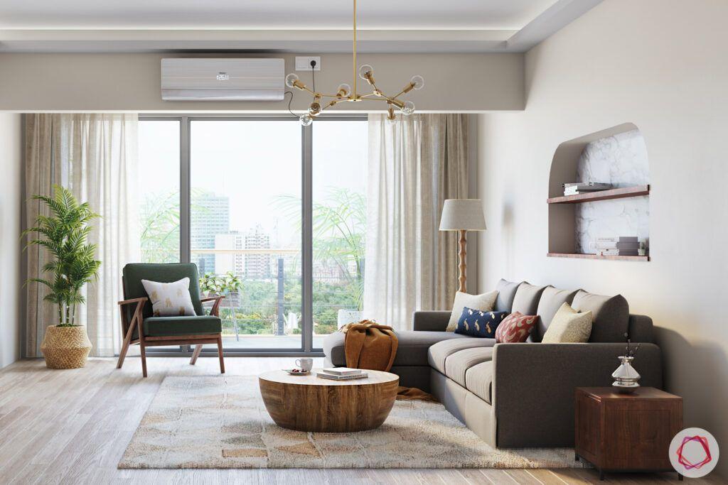 masaba gupta-living room-l-shaped sofa-balcony-white walls