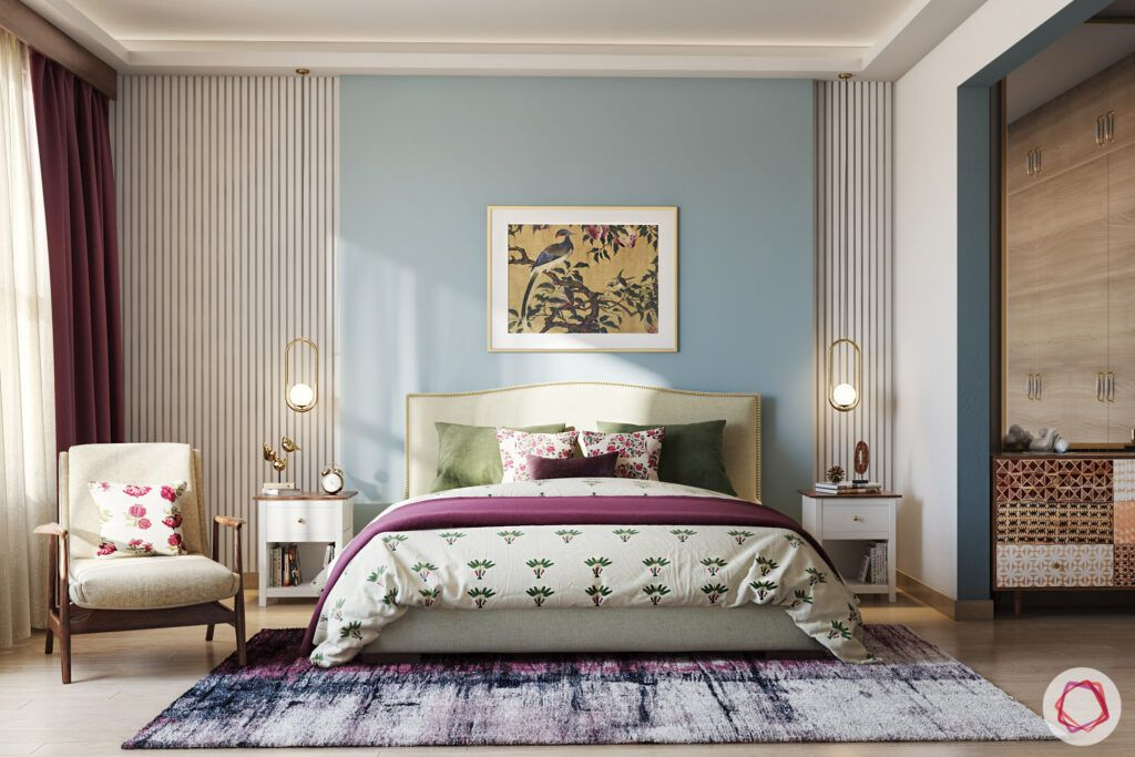 masaba gupta-neena gupta bedroom-accent chair-wooden wardrobes-bedside tables