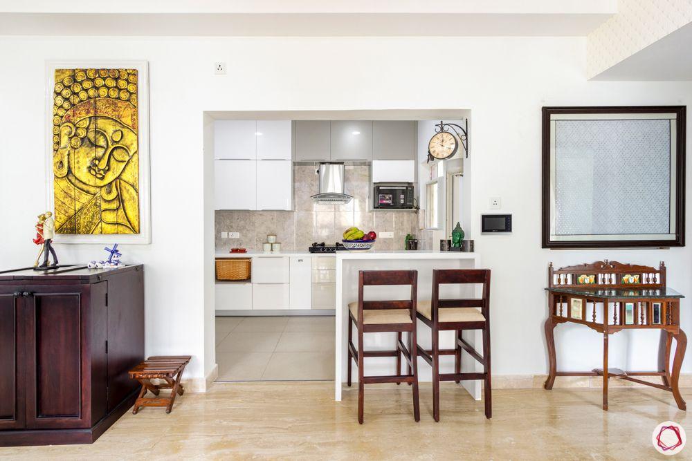 apartment interior-kitchen-breakfast nook-white and beige