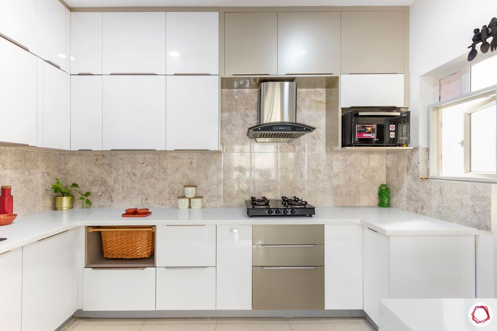 apartment interior-kitchen-hob-microwave unit-white and beige
