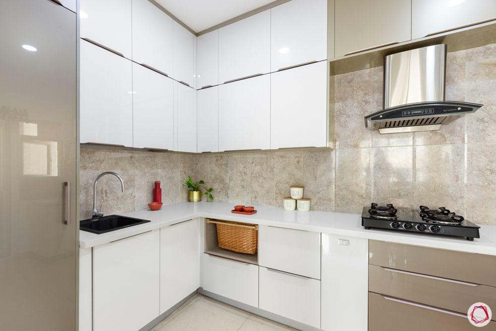 apartment interior-kitchen-hob-black matte finish sink-white and beige