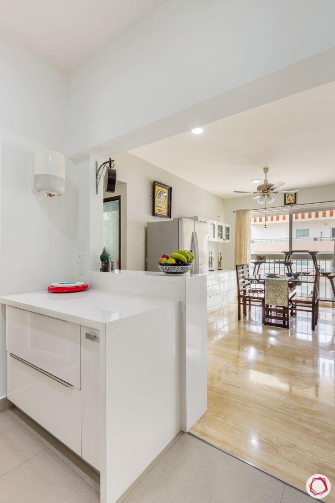 apartment interior-acrylic finish-white drawer unit