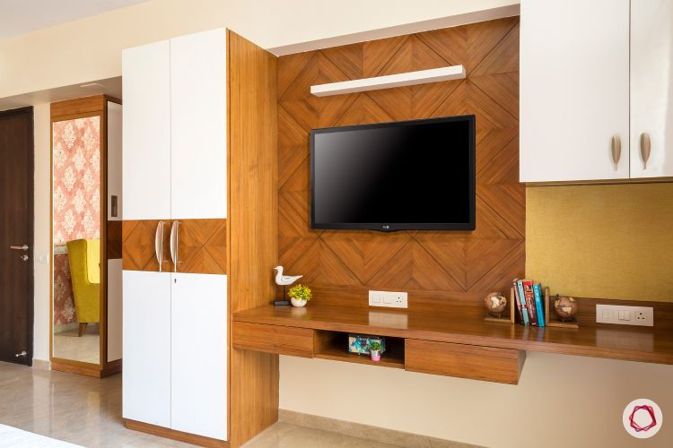 wardrobe design ideas-wall mounted tv unit-wooden unit-desk